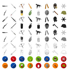 types of weapons cartoon icons in set collection vector image