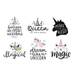 Unicorns cute hand drawn lettering poster vector