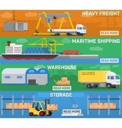 Warehouse and logistics banner set vector
