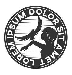 woman with a falcon logo vector image