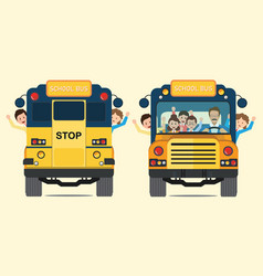 yellow school bus back and front view with happy vector image