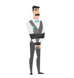 young caucasian groom tied up with rope vector image