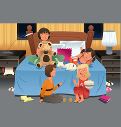 Young girls having a slumber party vector