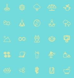 Zen concept line icons yellow color vector image