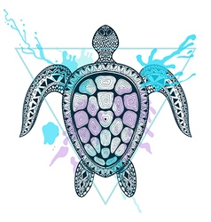 Zentangle stylized Ocean Turtle in triangle frame vector image
