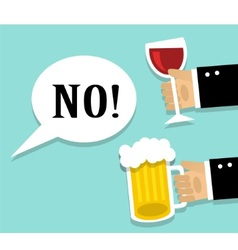 avoiding alcohol and sober vector image vector image