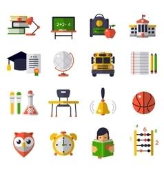 Basic Education Flat Icon Set vector image vector image