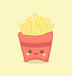 cute french fries cartoon vector image