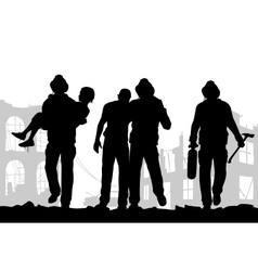Firefighters silhouette vector