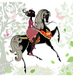 Khokhloma horse girl background vector image vector image