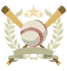 logo with a wreath and a baseball color vector image vector image