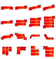 Red ribbon icons set vector image vector image