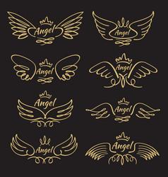 elegant angel golden flying wings on black vector image