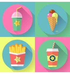 fast food colorful flat design icons set template vector image vector image