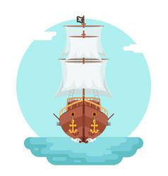 front view wooden pirate buccaneer filibuster vector image