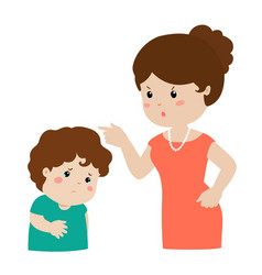 mother scolds her son cartoon character vector image vector image