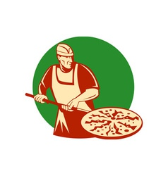 Pizza pie maker or baker holding baking pan vector image