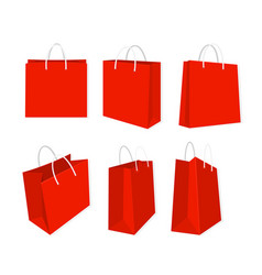set of red shopping bags vector image