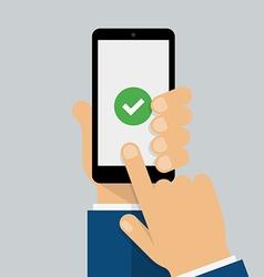 Check mark on smartphone screen vector