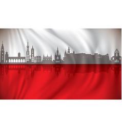 flag of poland with krakow skyline vector image