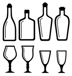 isolated bottles and alcohol glass set vector image vector image