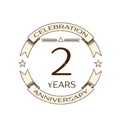 Realistic two years anniversary celebration logo vector