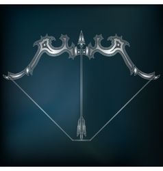 Silver bow and arrow zodiac Sagittarius sign vector image vector image
