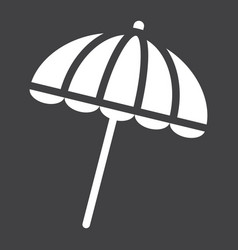 Sun umbrella solid icon travel tourism parasol vector