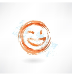 wink and laugh grunge icon vector image vector image