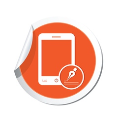 phone note icon orange sticker vector image