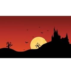 Silhouette of Halloween castle scenery vector image vector image