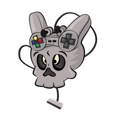 skull playing video games vector image vector image