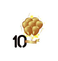 10 year anniversary black gold balloon template vector