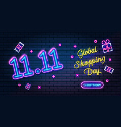 1111 online shopping day neon sign sale poster vector image