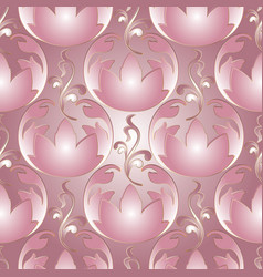 3d flowers baroque seamless pattern vector image