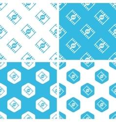 3D movie patterns set vector