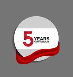 5 years anniversary design in circle red ribbon vector