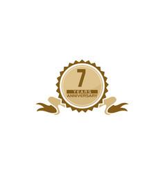 7 years ribbon anniversary vector