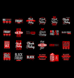 Abstract black friday sale lable tag set vector