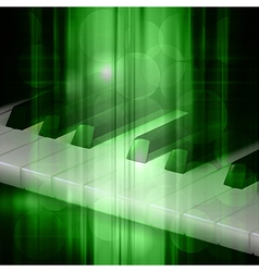 Abstract green music background with piano keys vector