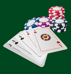 aces poker cards game template vector image