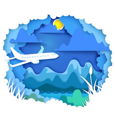 Airplane travel paper art concept vector