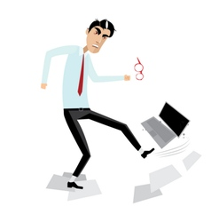 Angry businessman breaking laptop vector image