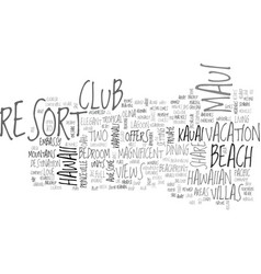 awesome tropical resorts text word cloud concept vector image