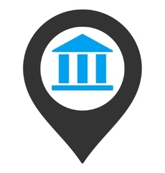 Bank Building Pointer Flat Icon vector image