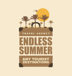 banner with travel suitcase palms and sun vector image