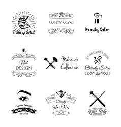 Beauty salon design elements in vintage style vector