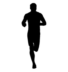 black silhouettes runners sprint men on white vector image