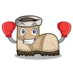 Boxing working boots isolated on the mascot vector
