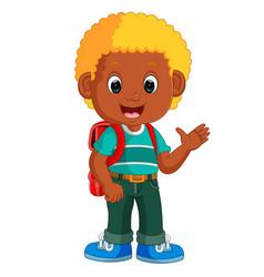boy with backpacks cartoon vector image vector image